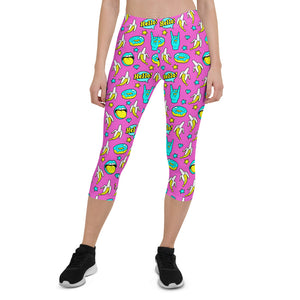Pink Comic Capri Leggings