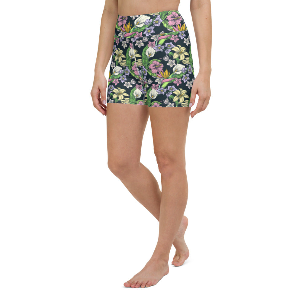Colorful Tropical Yoga Shorts