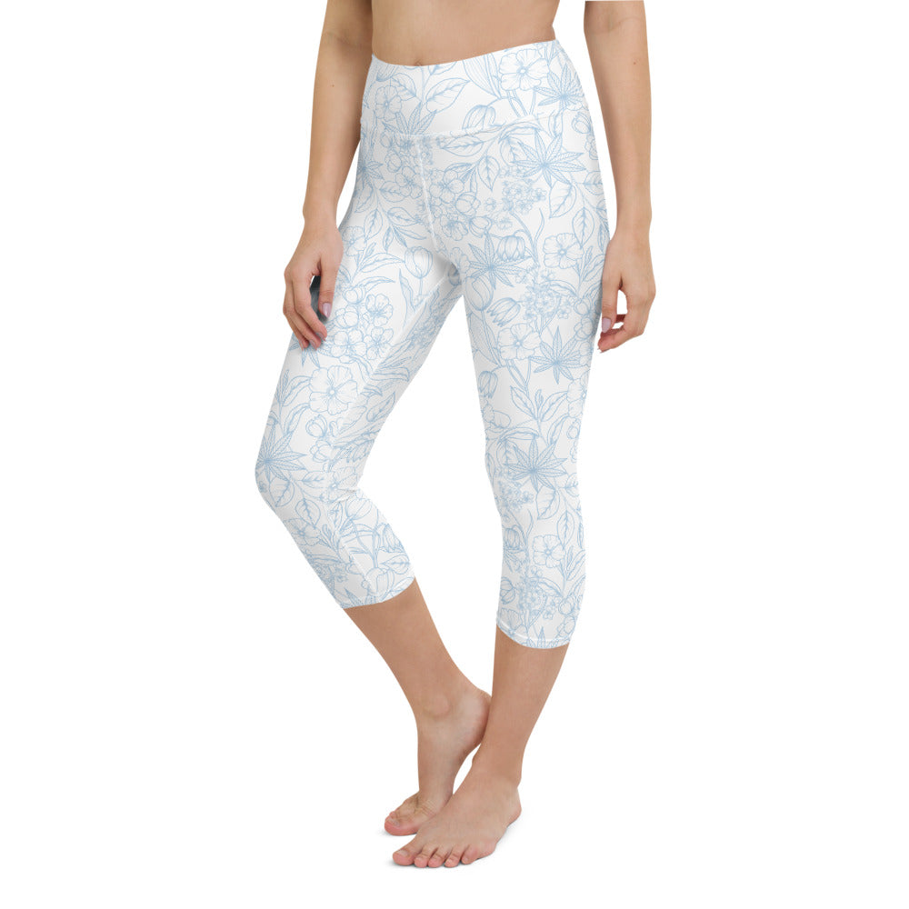 Light Floral Yoga Capri Leggings