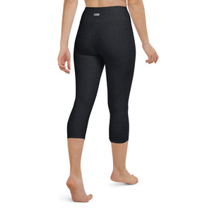 Black Speckled Yoga Capri Leggings