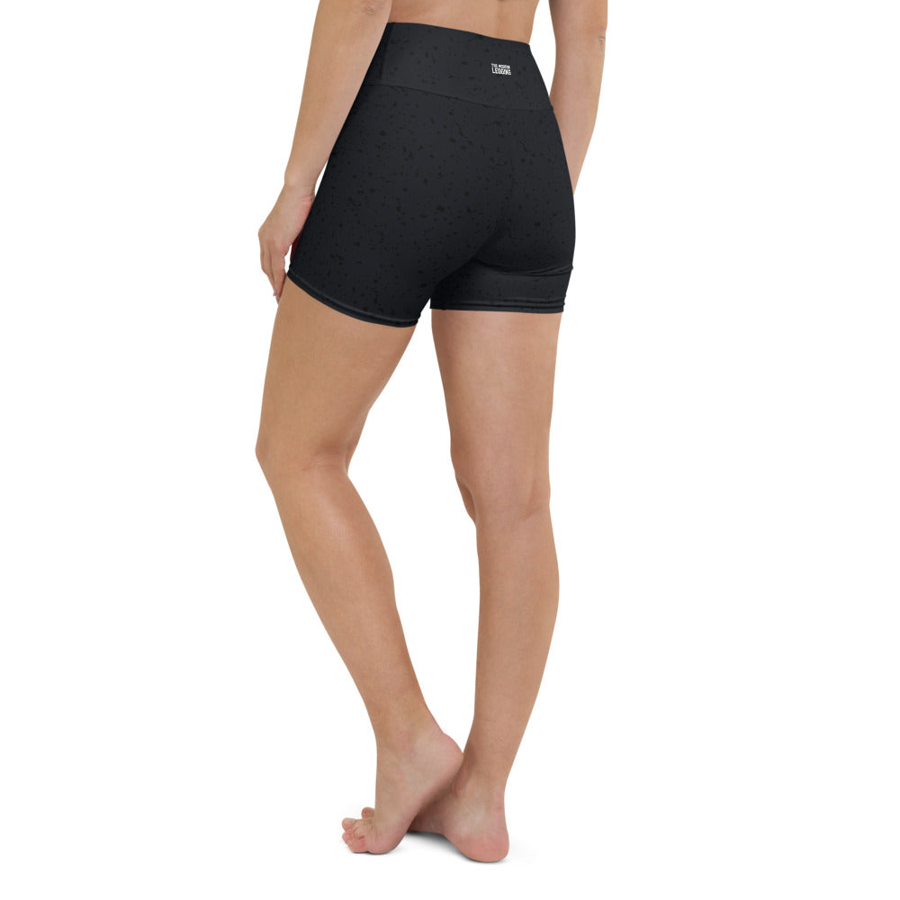 Black Speckle Yoga Shorts