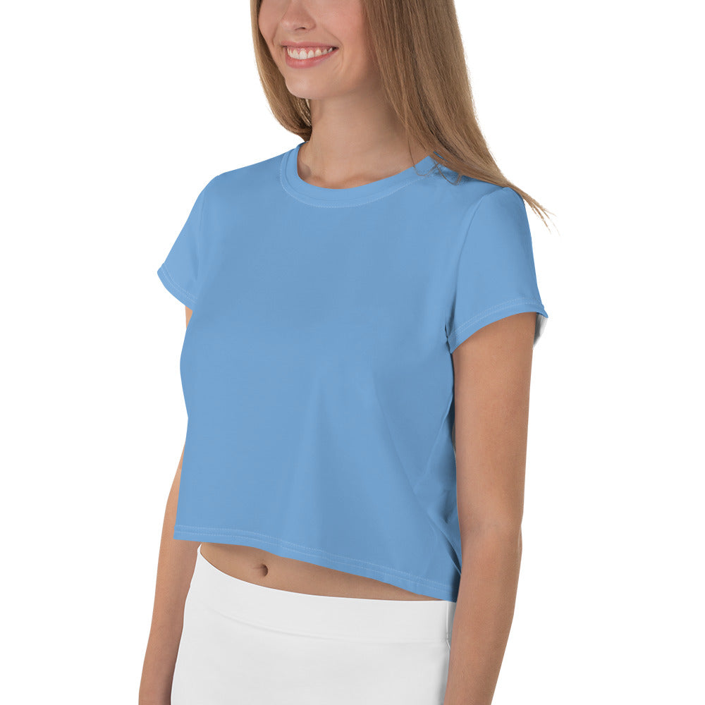 Solid Blue Crop Tee