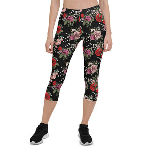 Red and Pink Roses Capri Leggings