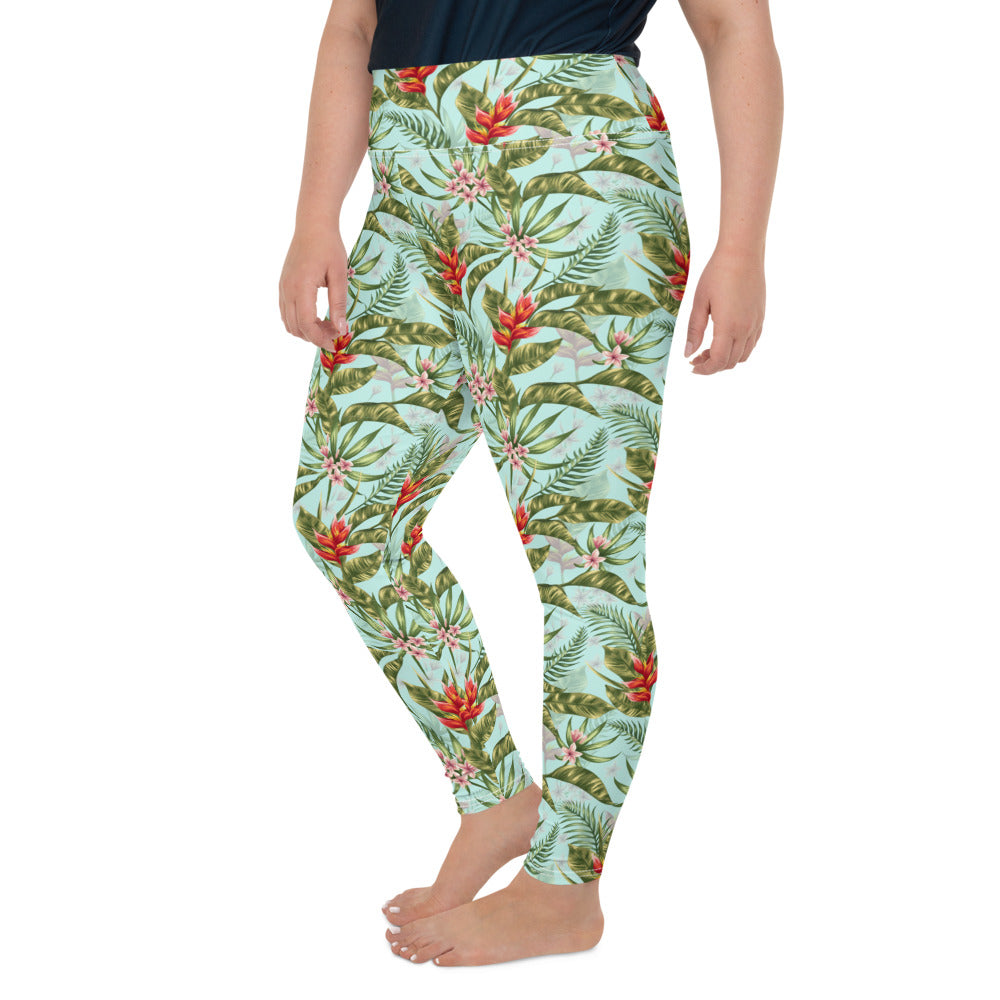 Tropical Watercolor Plus Size Leggings