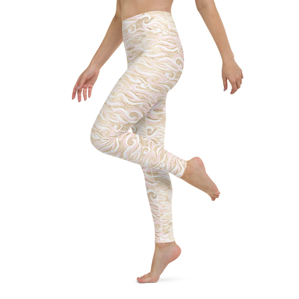Wavy Gold and Pink Yoga Leggings