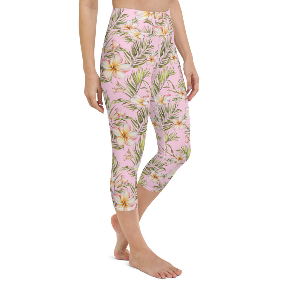 Exotic Plumeria Yoga Capri Leggings
