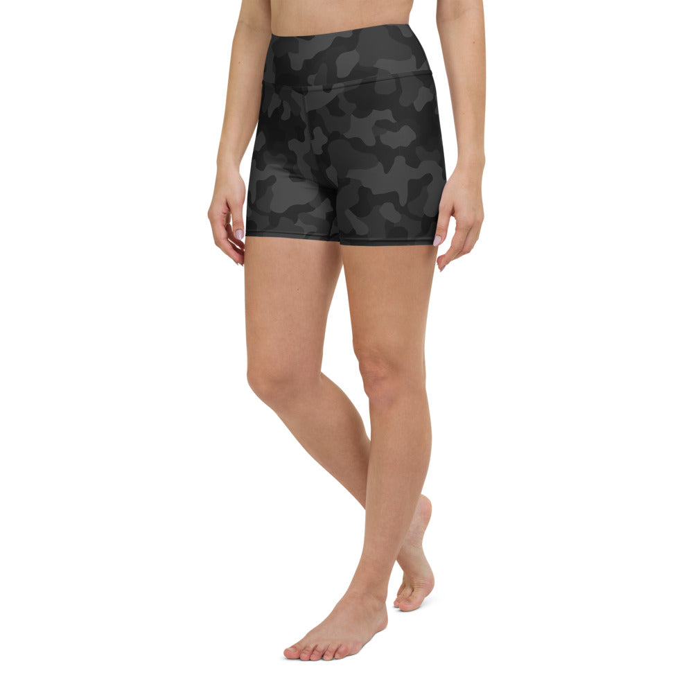 Black Camo Yoga Shorts