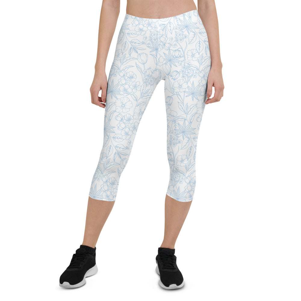 Light Floral Capri Leggings