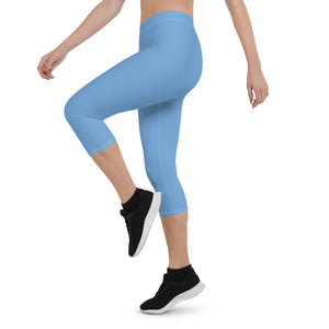 Solid Blue Capri Leggings