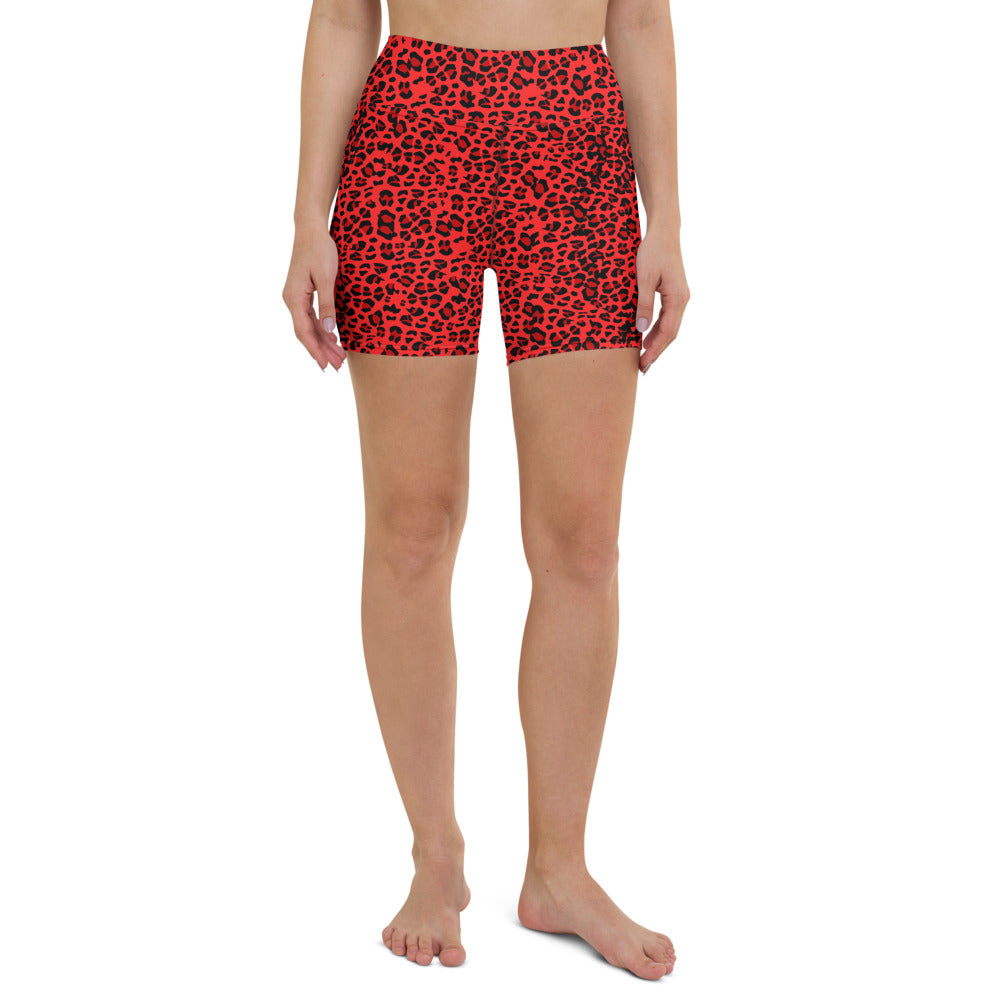 Red Leopard Yoga Shorts