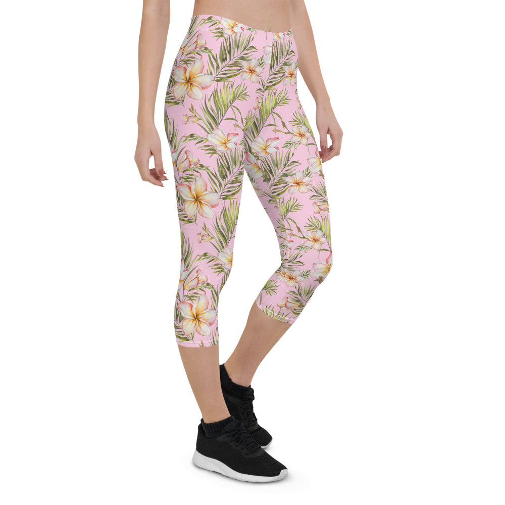 Exotic Plumeria  Capri Leggings