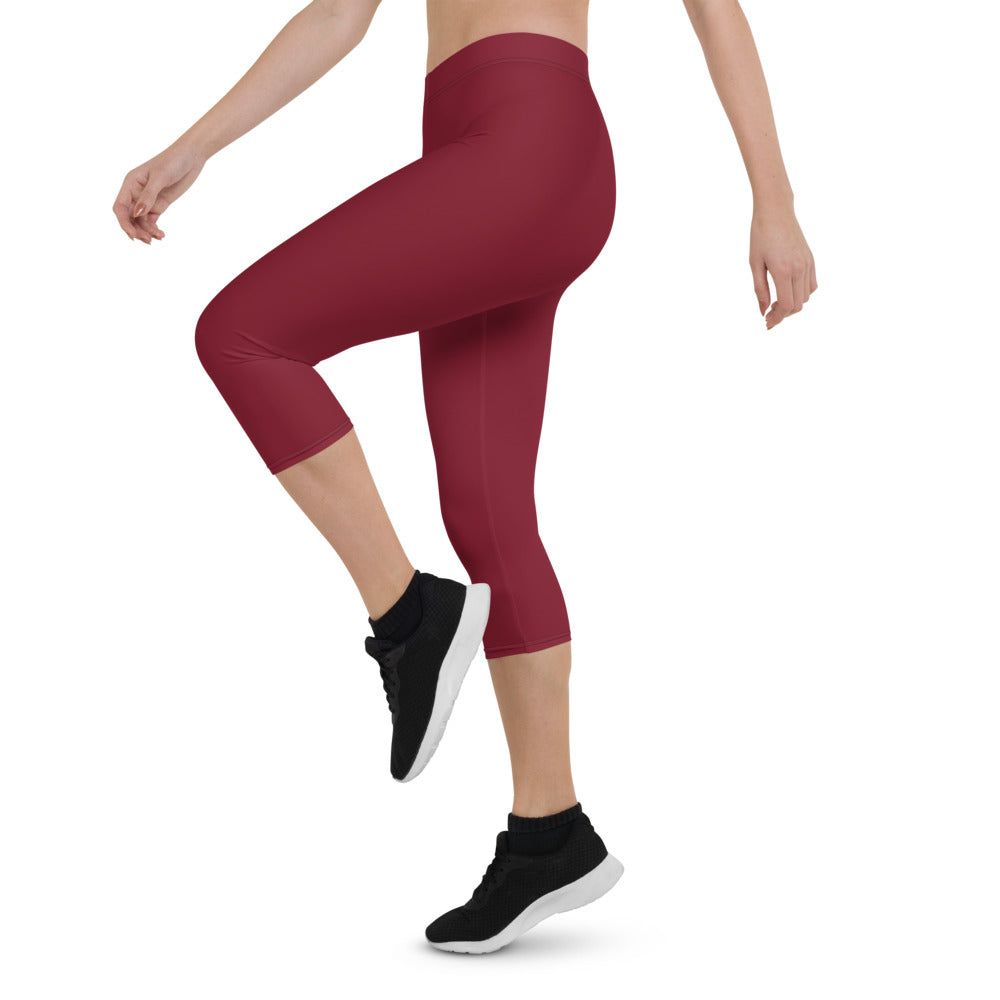 Solid Red Capri Leggings
