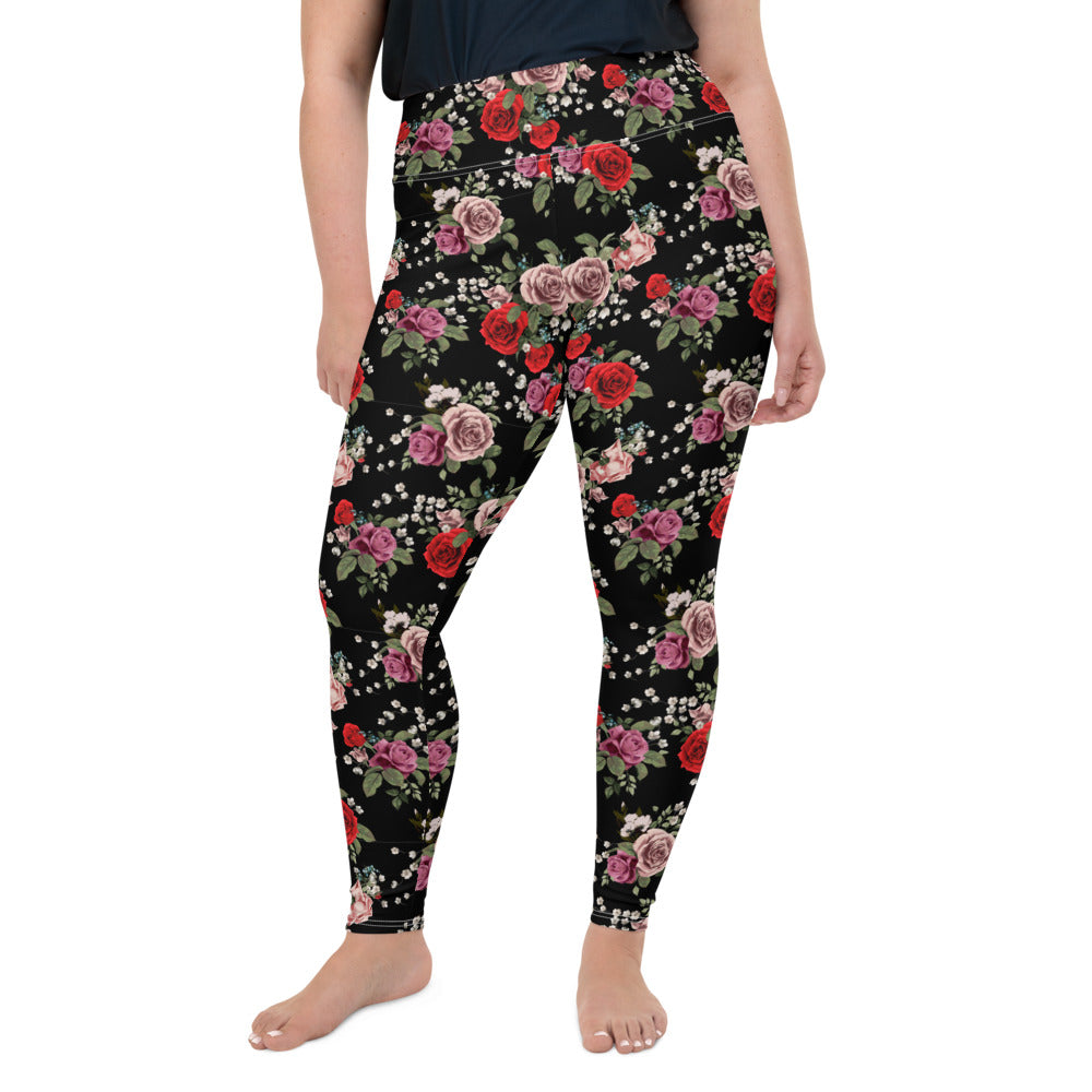 Red and Pick Roses Plus Size Leggings
