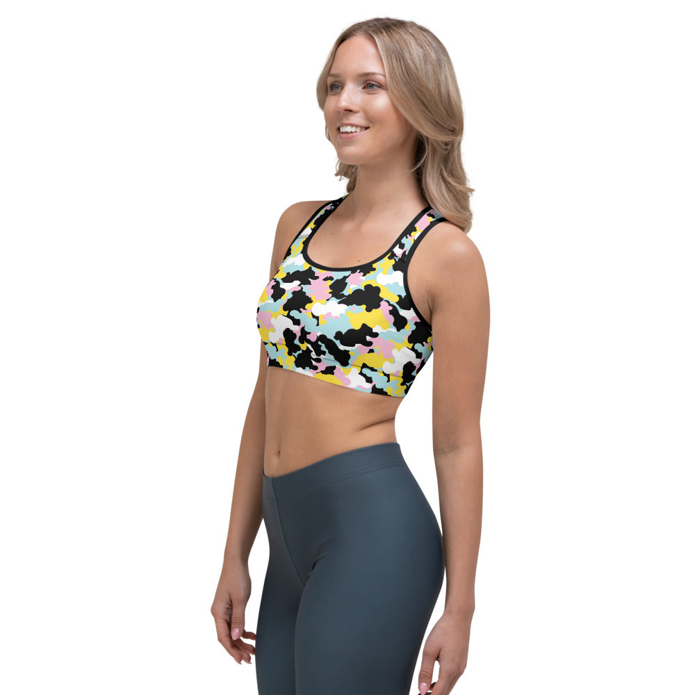 Colorful Camo Sports bra