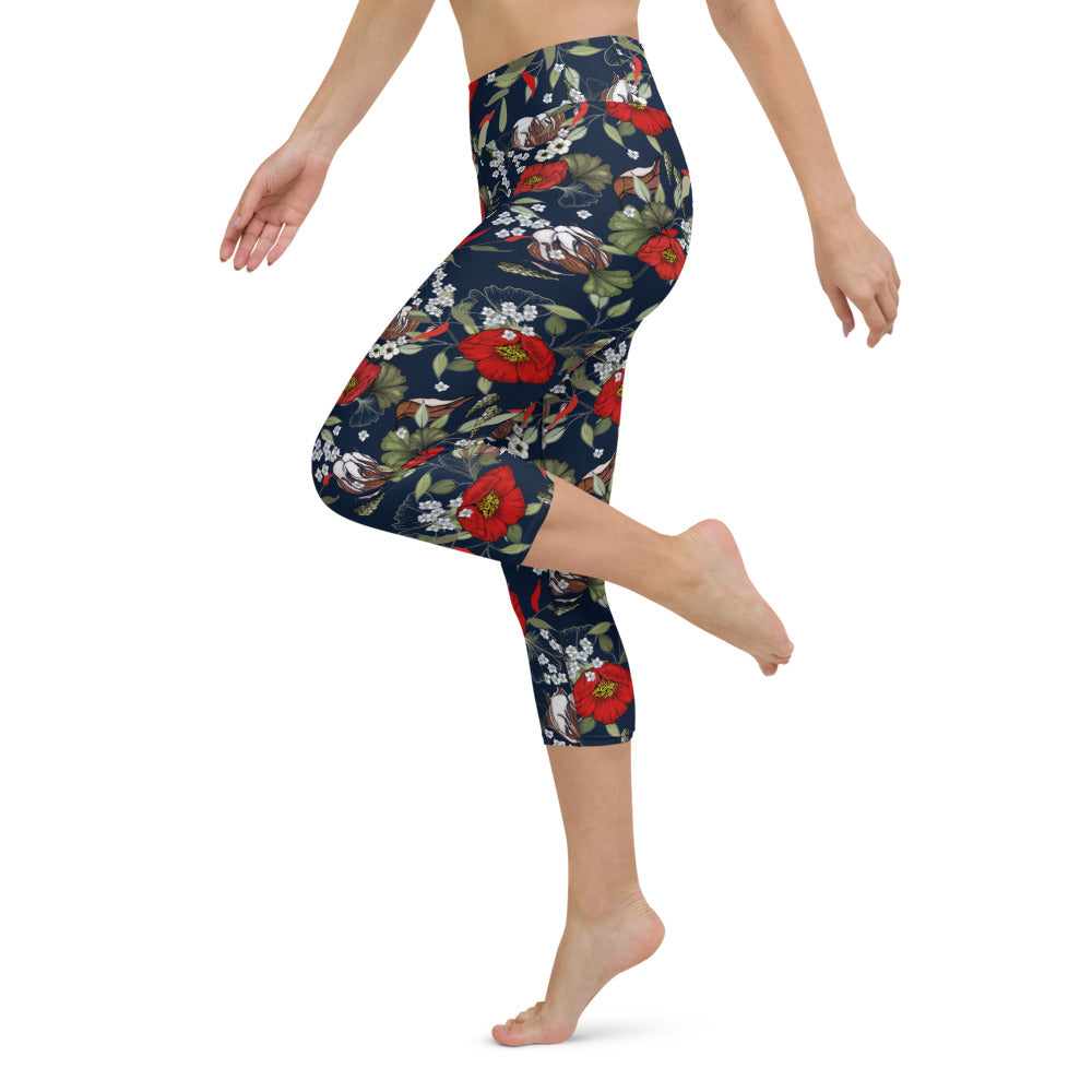 Modern Botanical Yoga Capri Leggings