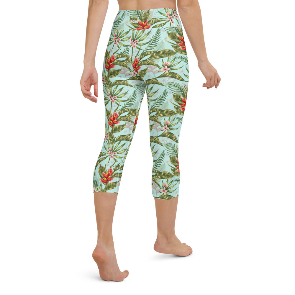 Tropical Watercolor Yoga Capri Leggings
