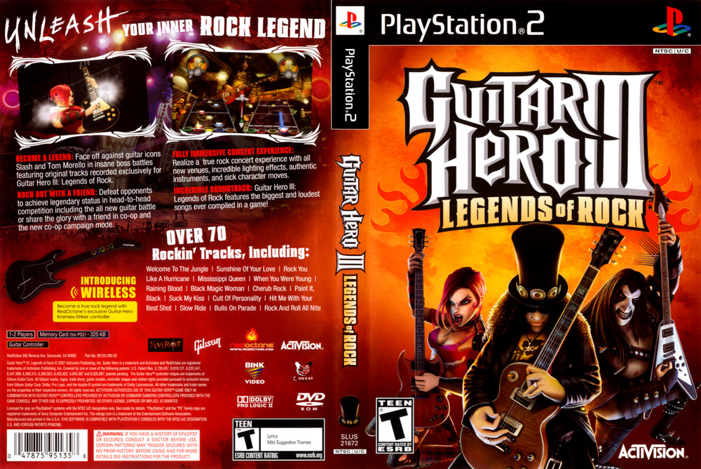 Playstation 2 - Guitar Hero 3 Legends of Rock
