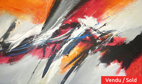 Beating Heart 36x60 po/in Painting - Unique Abstract Art by Pierre Bellemare