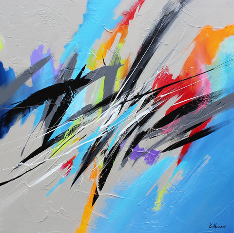 Blue Sky 36x36 po/in Painting - Unique Abstract Art by Pierre Bellemare