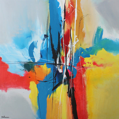 Colorful 40x40 po/in Painting - Unique Abstract Art by Pierre Bellemare