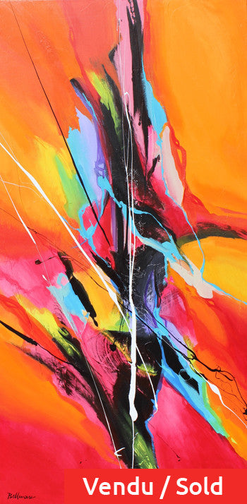 Fructose 48x24 po/in Painting - Unique Abstract Art by Pierre Bellemare