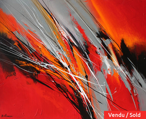 Fuego 34x42 po/in Painting - Unique Abstract Art by Pierre Bellemare