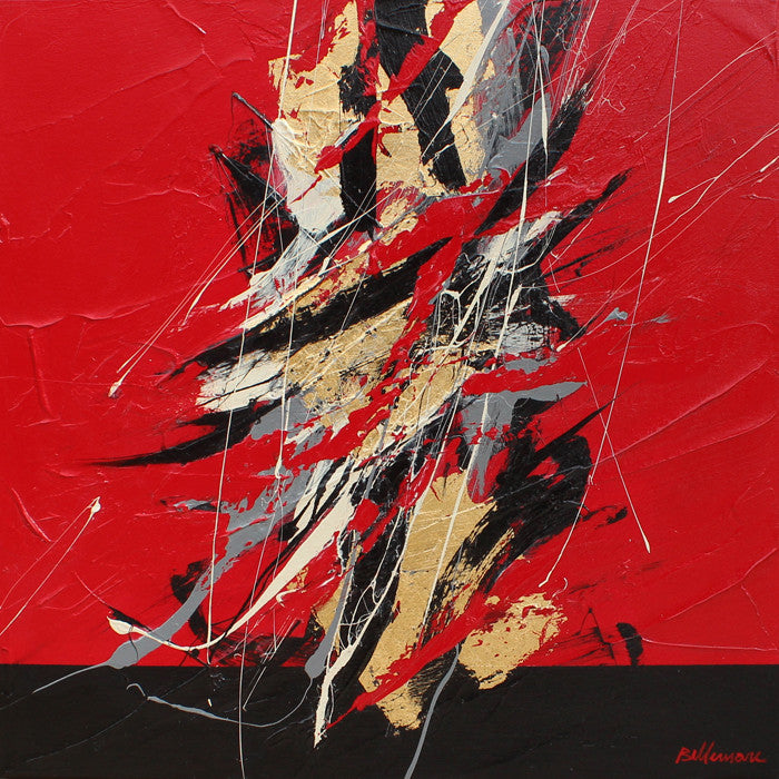 Golden Script 20x20 po/in Painting - Unique Abstract Art by Pierre Bellemare