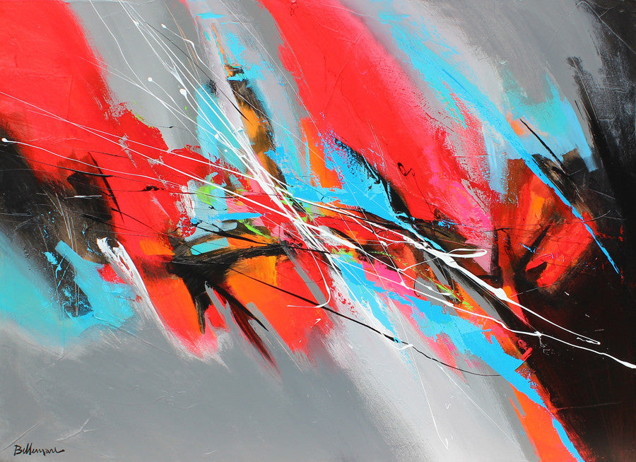 Red Motion 36x48 po/in Painting - Unique Abstract Art by Pierre Bellemare