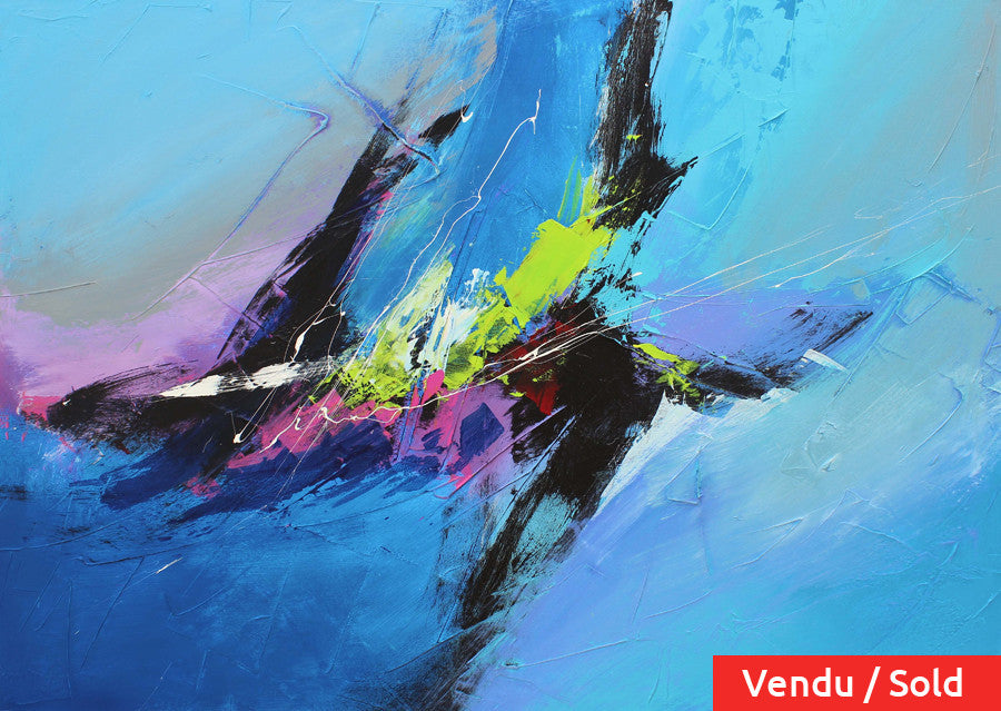 Sailing 36x48 po/in Painting - Unique Abstract Art by Pierre Bellemare