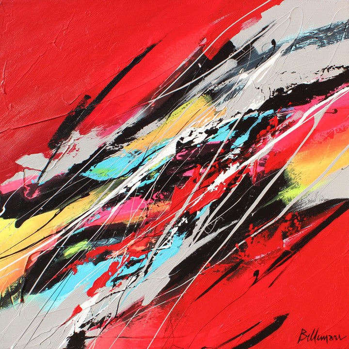 Speed 20x20 po/in Painting - Unique Abstract Art by Pierre Bellemare