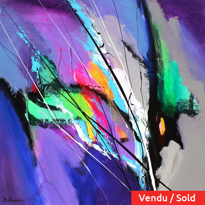 Vetro colorato 30x30 po/in Painting - Unique Abstract Art by Pierre Bellemare