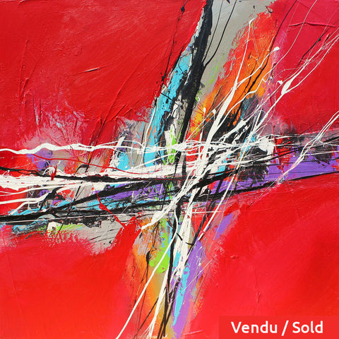 Vibrance 30x30 po/in Painting - Unique Abstract Art by Pierre Bellemare