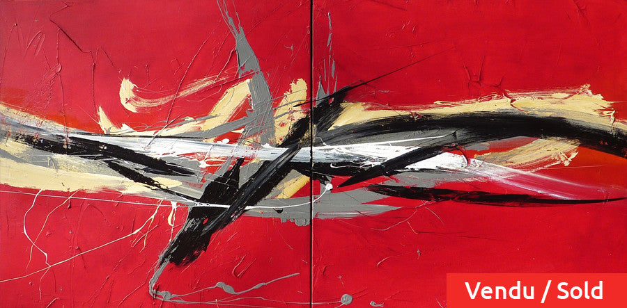 Wudaokou 30x60 po/in Dyptich Painting - Unique Abstract Art by Pierre Bellemare