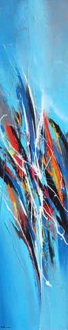 Blue Sparkle 60x12 po/in Painting - Unique Abstract Art by Pierre Bellemare