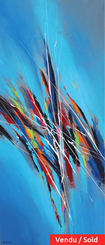 Blue Sparkle II 72x30 po/in Painting - Unique Abstract Art by Pierre Bellemare