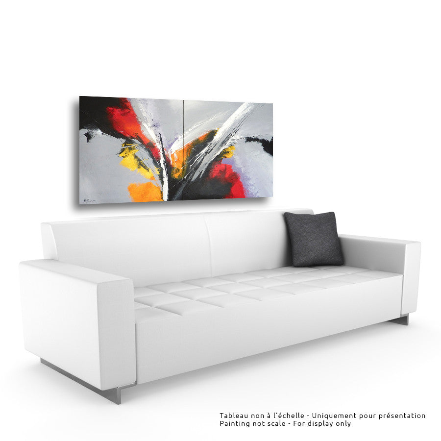 Ascoltare 36x72 pi/in (Diptyque) Painting - Unique Abstract Art by Pierre Bellemare
