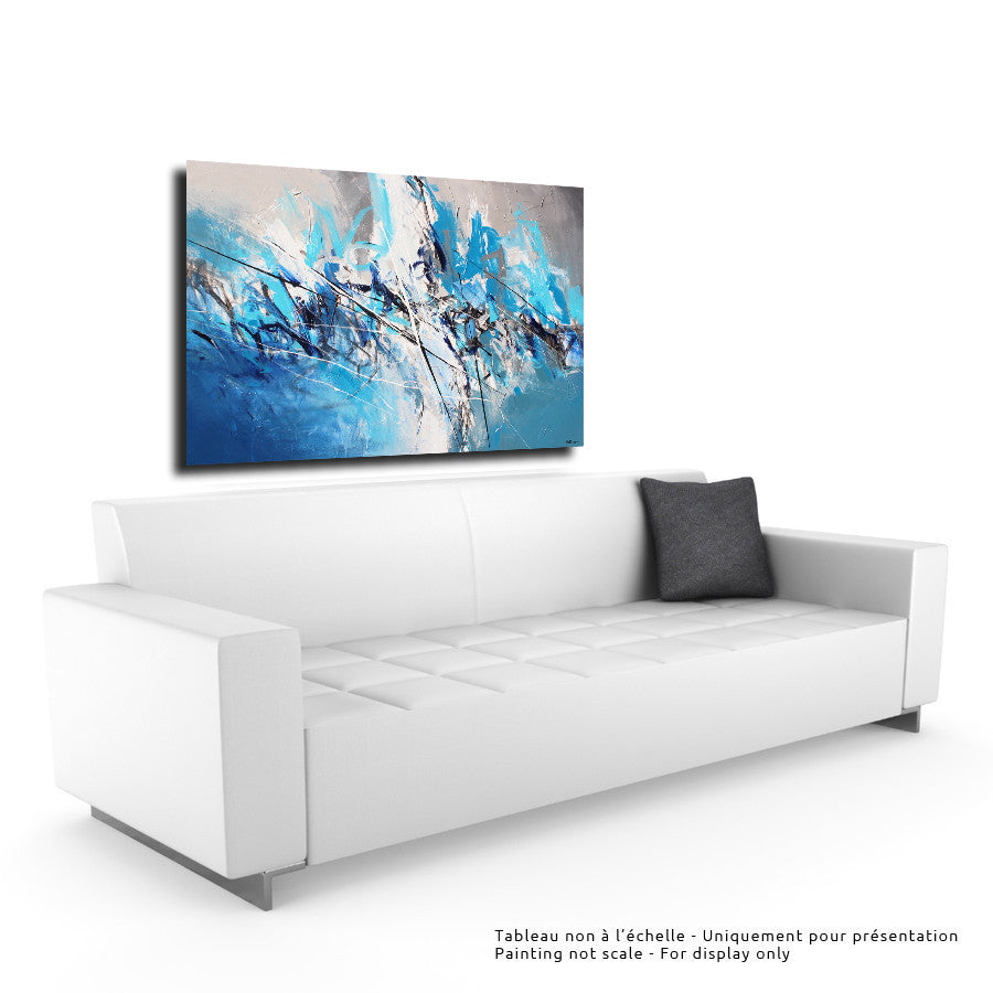 Blue Forest 36X48 po/in Painting - Unique Abstract Art by Pierre Bellemare