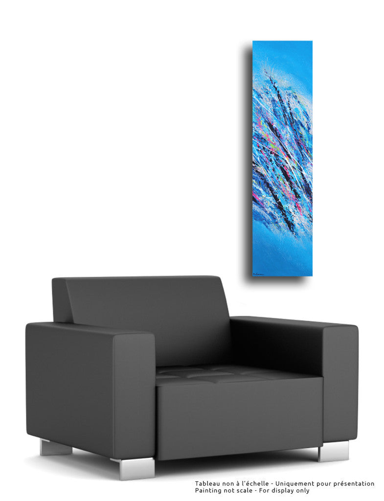 Blue Ice 48x12 po/in Painting - Unique Abstract Art by Pierre Bellemare