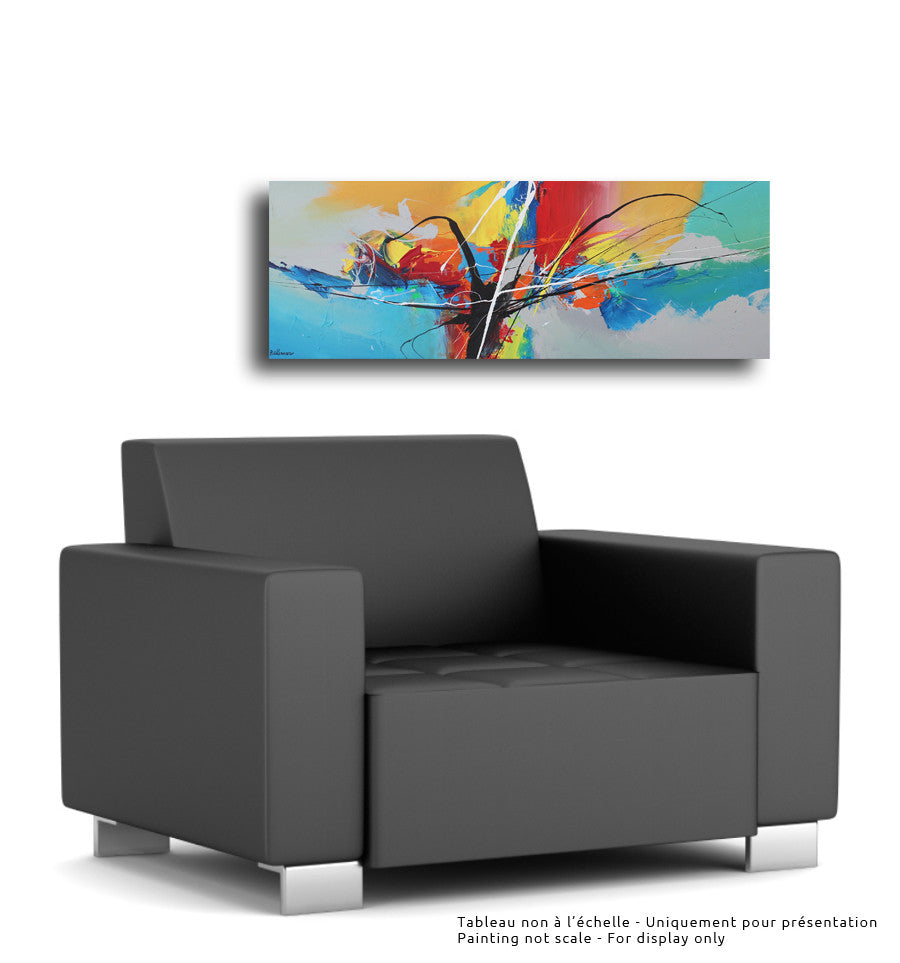 Bull 16x48 po/in Painting - Unique Abstract Art by Pierre Bellemare