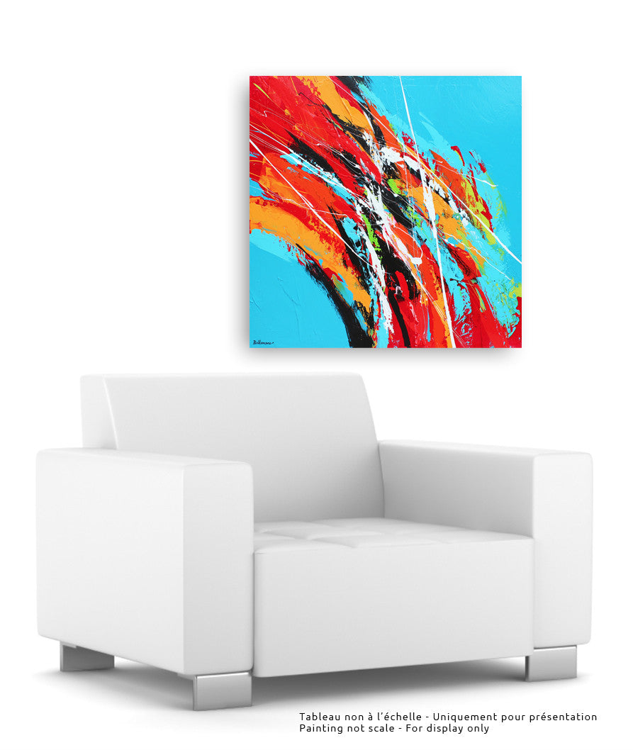Color Run 36x36 po/in Painting - Unique Abstract Art by Pierre Bellemare