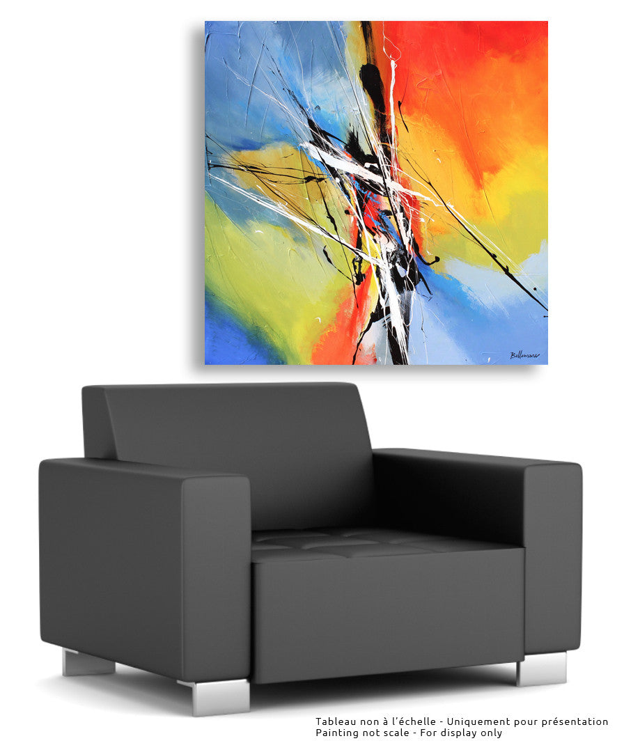 Connexion 48x48 po/in Painting - Unique Abstract Art by Pierre Bellemare