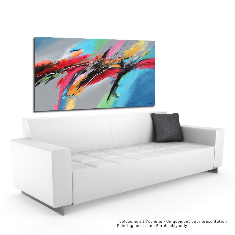 Flow 36x60 po/in Painting - Unique Abstract Art by Pierre Bellemare