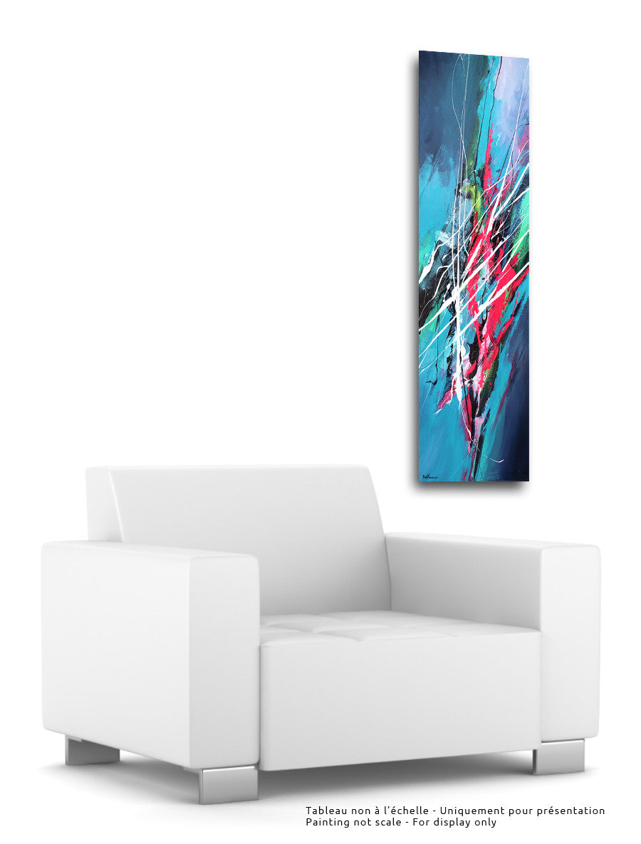 Happy Ways 48x12 Painting - Unique Abstract Art by Pierre Bellemare