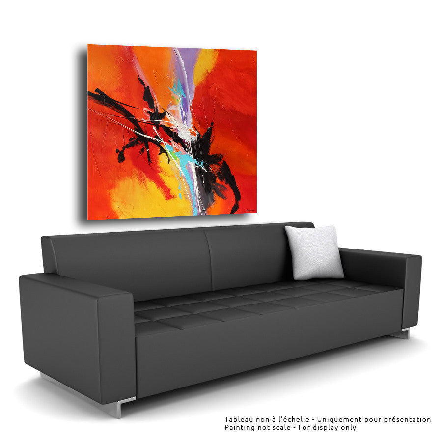 Helios 48x48 po/in Painting - Unique Abstract Art by Pierre Bellemare