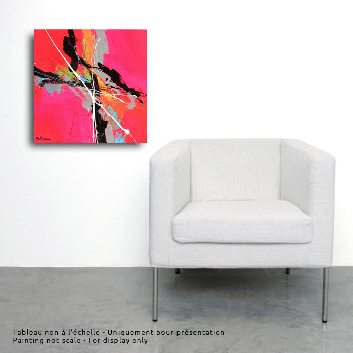 Pink Moon 20x20 po/in Painting - Unique Abstract Art by Pierre Bellemare