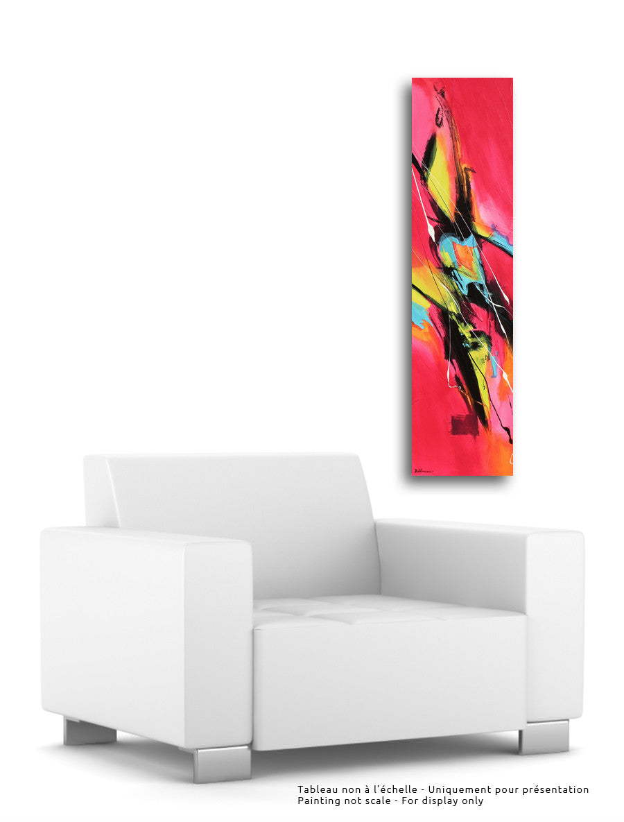 Oasis 48x12 po/in Painting - Unique Abstract Art by Pierre Bellemare