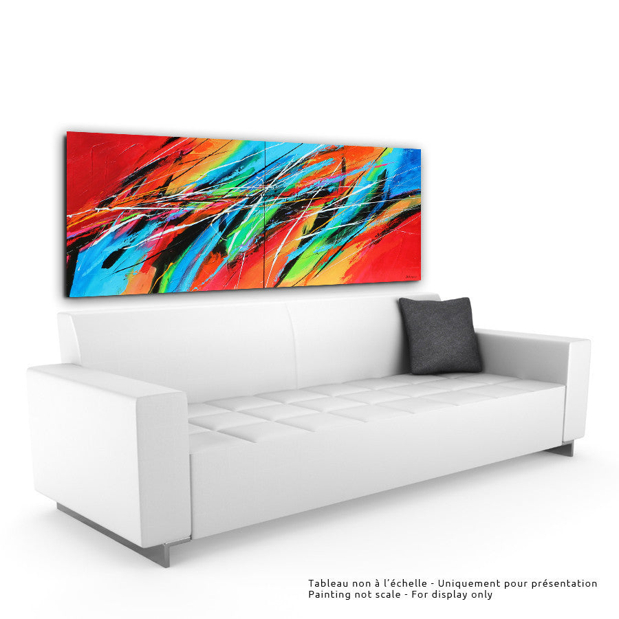 Philharmonia 30x72 po/in (DIPTYQUE/DIPTYCH) Painting - Unique Abstract Art by Pierre Bellemare