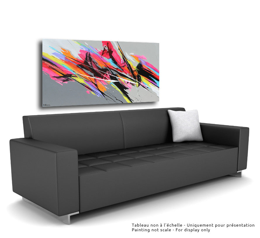 Pulsations 30x60 po/in Painting - Unique Abstract Art by Pierre Bellemare