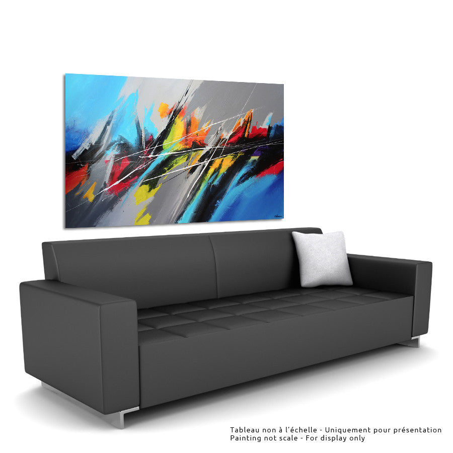 Pulse I 36x60 po/in Painting - Unique Abstract Art by Pierre Bellemare