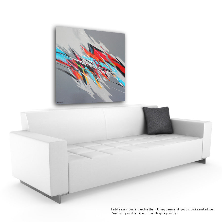 Rhythm in colors II 40x40 po/in Painting - Unique Abstract Art by Pierre Bellemare